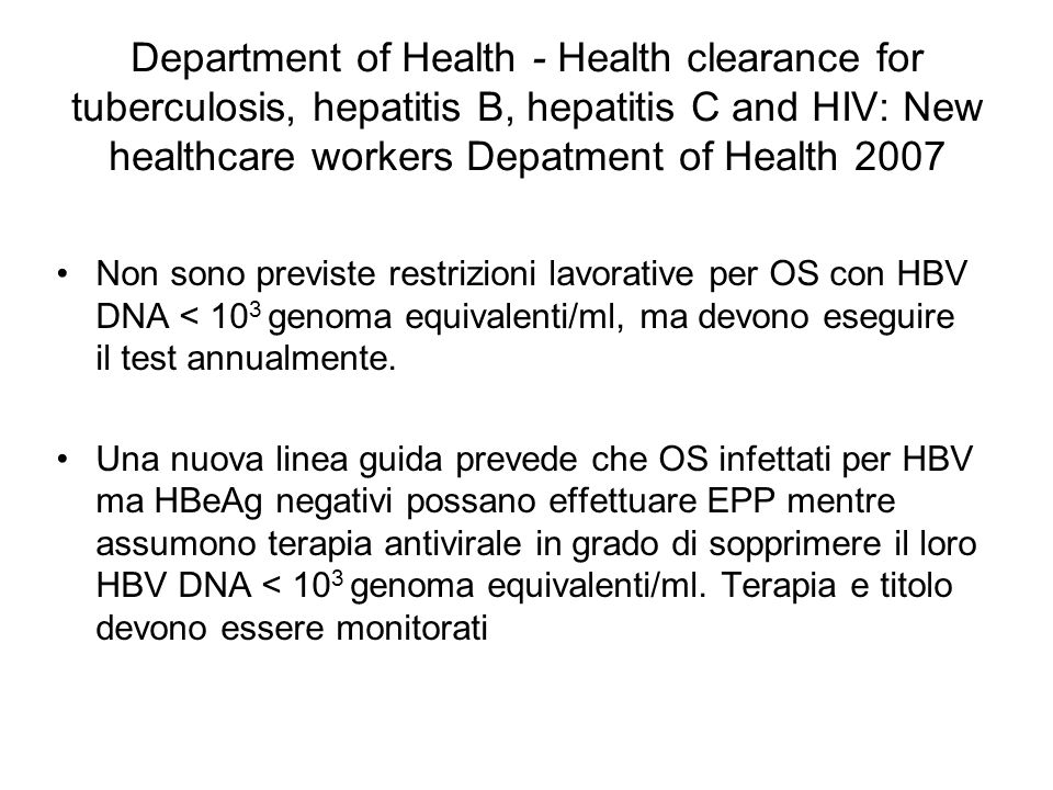 Department of Health - Health clearance for tuberculosis, hepatitis B, hepatitis C and HIV: New healthcare workers Depatment of Health 2007