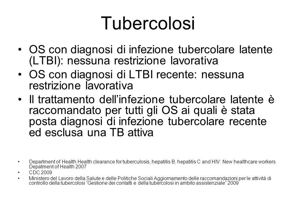 Tubercolosi OS con diagnosi di infezione tubercolare latente (LTBI): nessuna restrizione lavorativa.