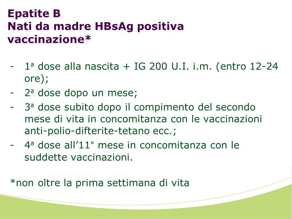 Epatite B Nati da madre HBsAg positiva vaccinazione*