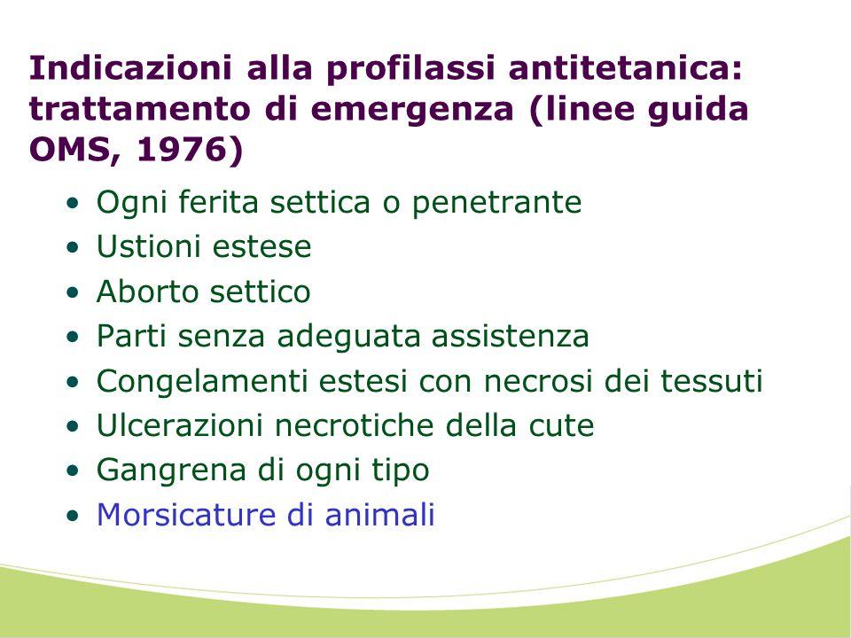 Indicazioni alla profilassi antitetanica: trattamento di emergenza (linee guida OMS, 1976)