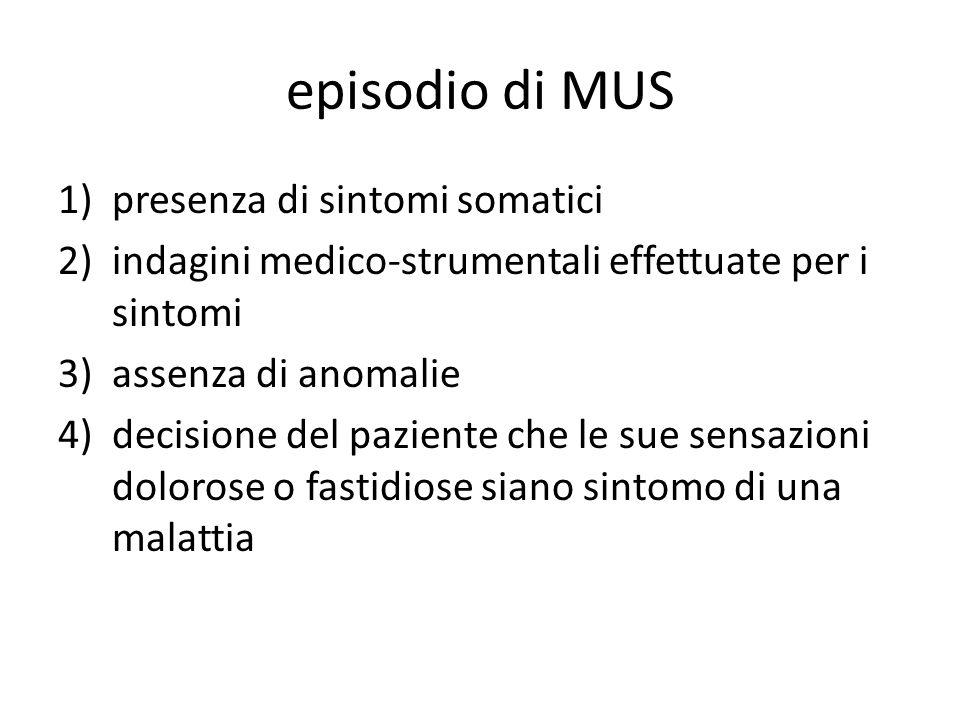 episodio di MUS presenza di sintomi somatici