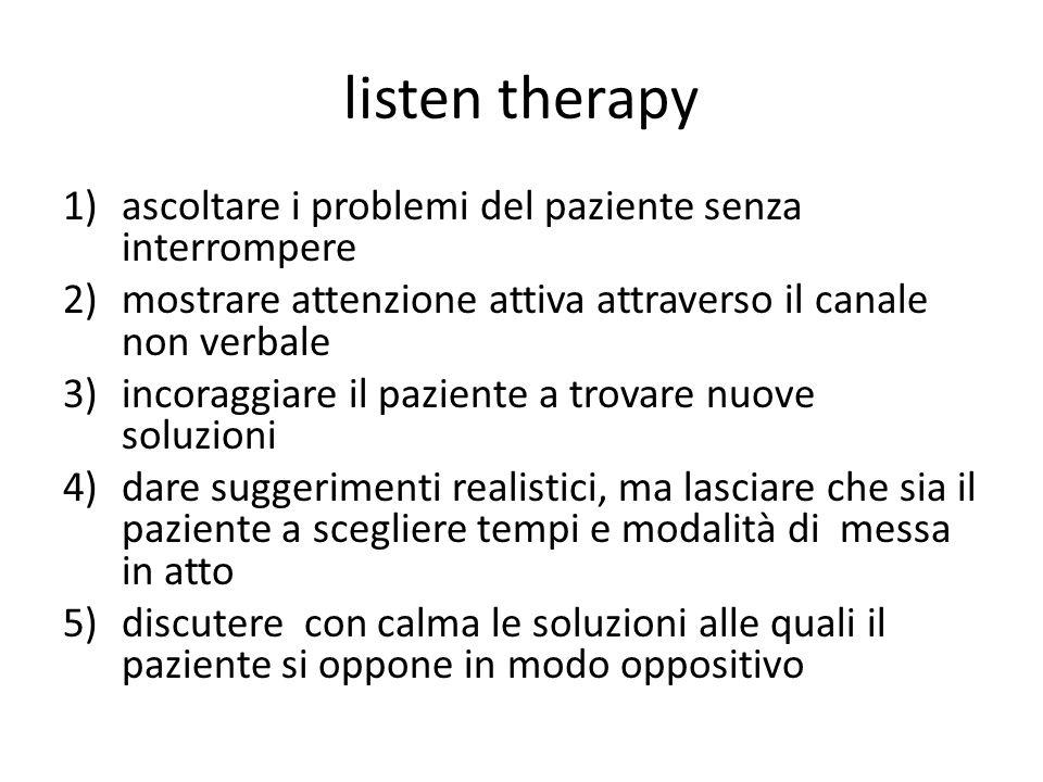 listen therapy ascoltare i problemi del paziente senza interrompere