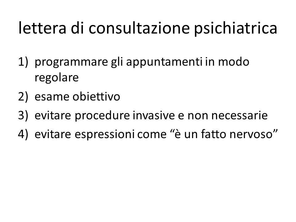 lettera di consultazione psichiatrica