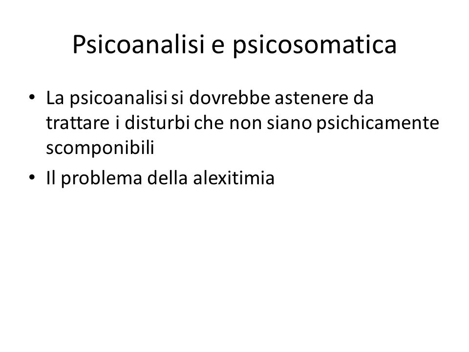 Psicoanalisi e psicosomatica