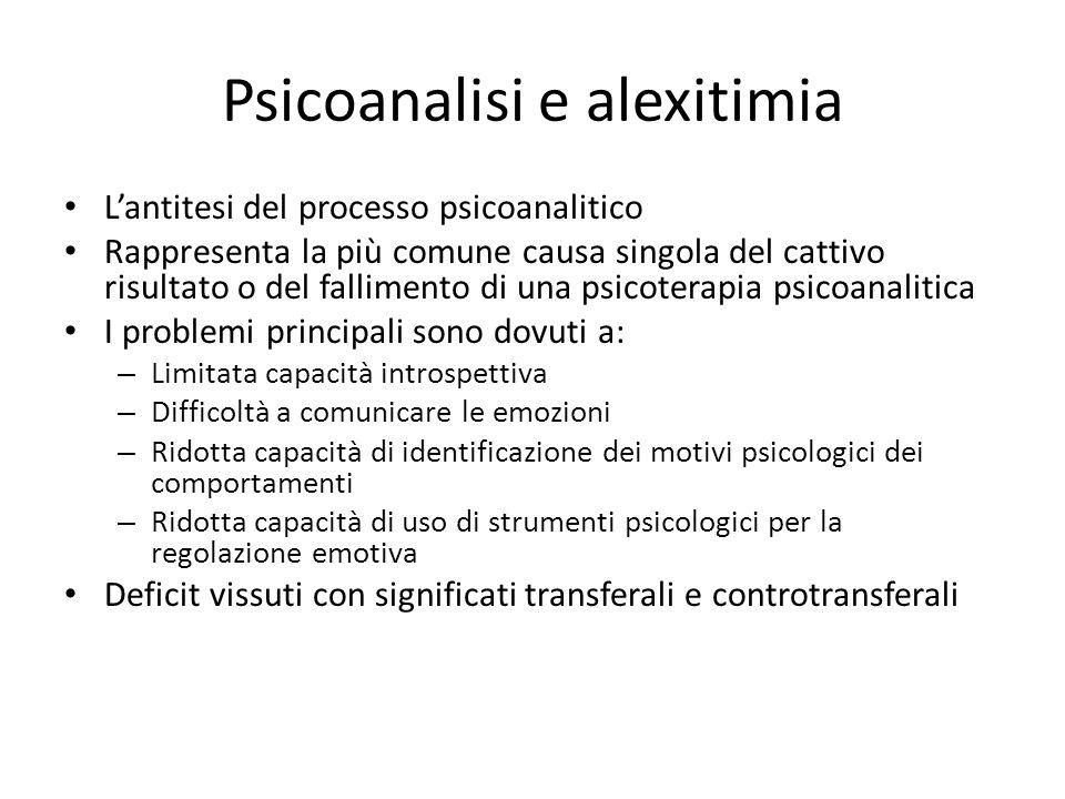 Psicoanalisi e alexitimia