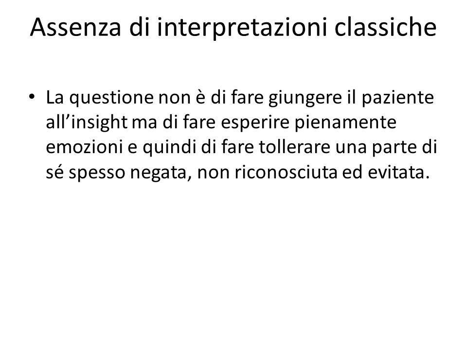 Assenza di interpretazioni classiche