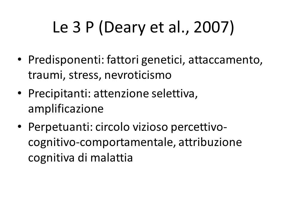 Le 3 P (Deary et al., 2007) Predisponenti: fattori genetici, attaccamento, traumi, stress, nevroticismo.