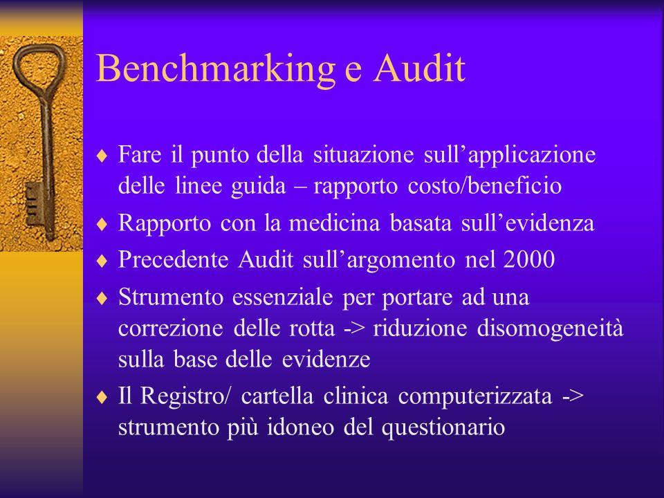 Benchmarking e Audit Fare il punto della situazione sull'applicazione delle linee guida – rapporto costo/beneficio.