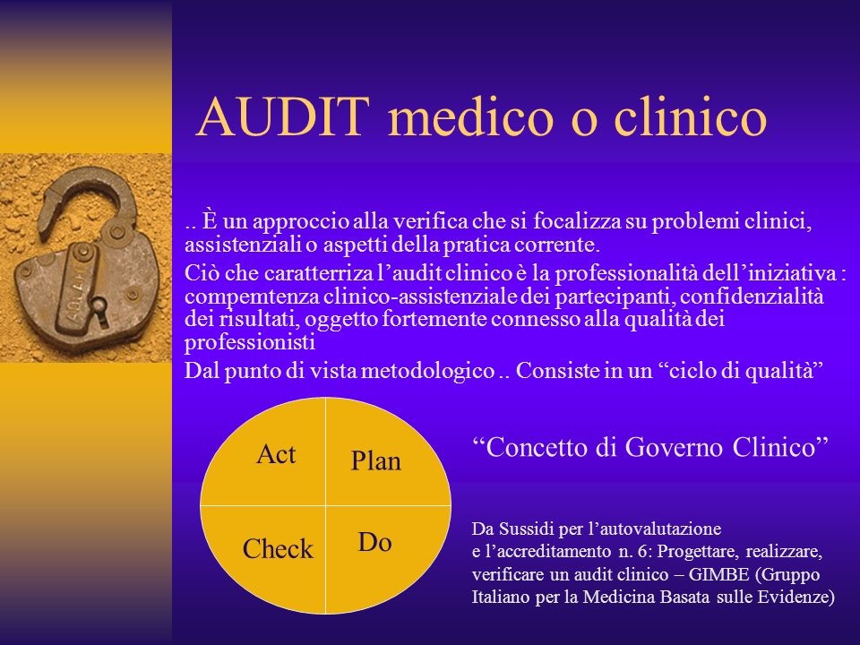 AUDIT medico o clinico Concetto di Governo Clinico Act Plan Do Check