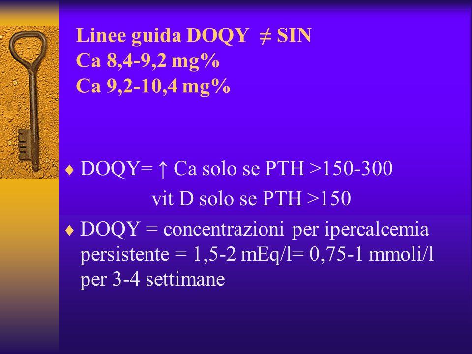 Linee guida DOQY ≠ SIN Ca 8,4-9,2 mg% Ca 9,2-10,4 mg%