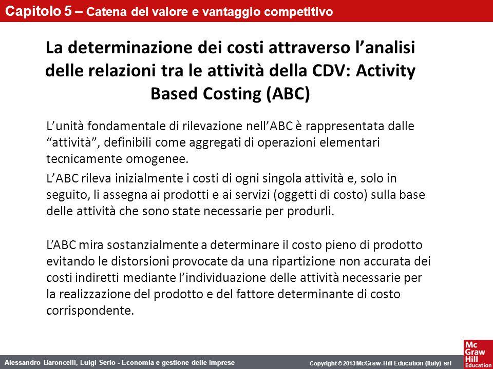 La determinazione dei costi attraverso l'analisi delle relazioni tra le attività della CDV: Activity Based Costing (ABC)