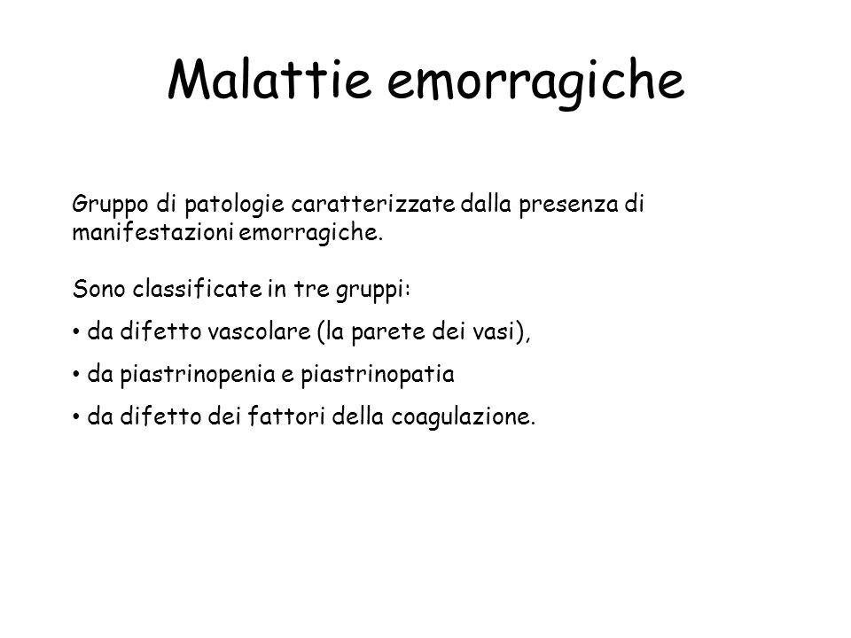 Malattie emorragiche Gruppo di patologie caratterizzate dalla presenza di manifestazioni emorragiche.