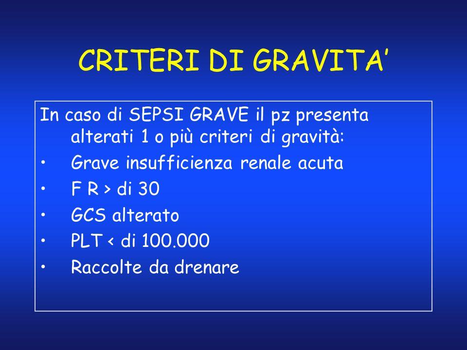 CRITERI DI GRAVITA'In caso di SEPSI GRAVE il pz presenta alterati 1 o più criteri di gravità: Grave insufficienza renale acuta.