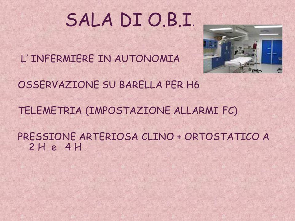 SALA DI O.B.I. L' INFERMIERE IN AUTONOMIA