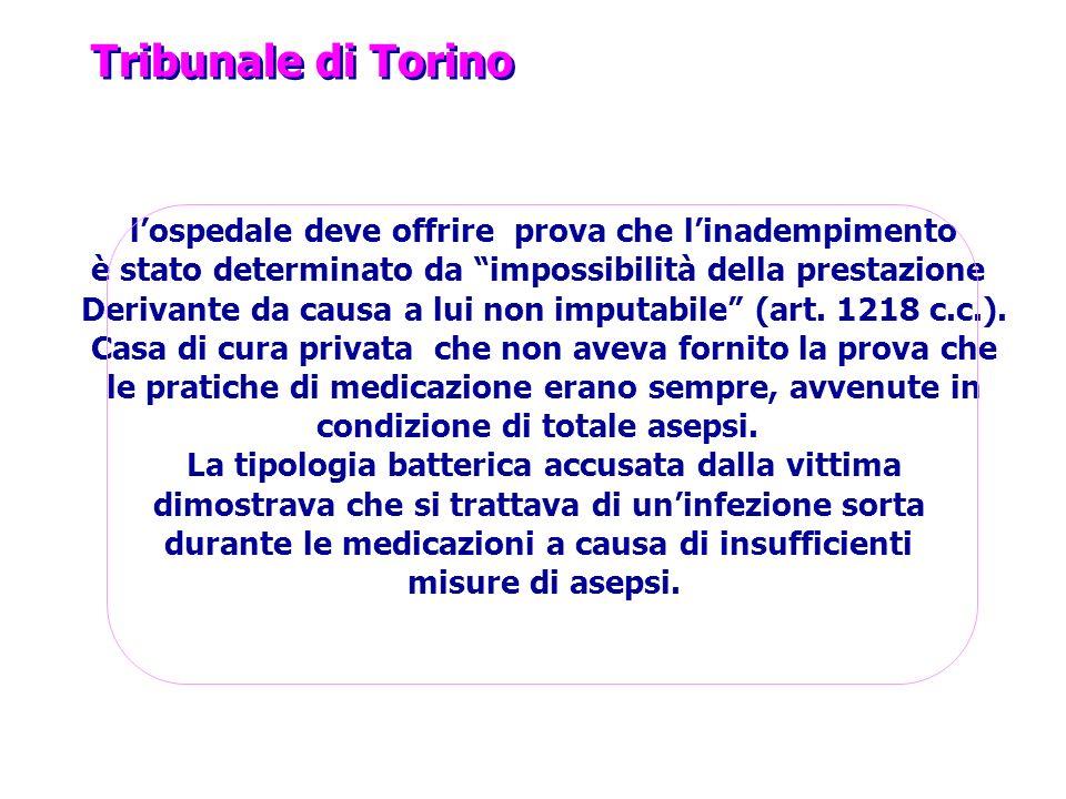 Tribunale di Torino l'ospedale deve offrire prova che l'inadempimento