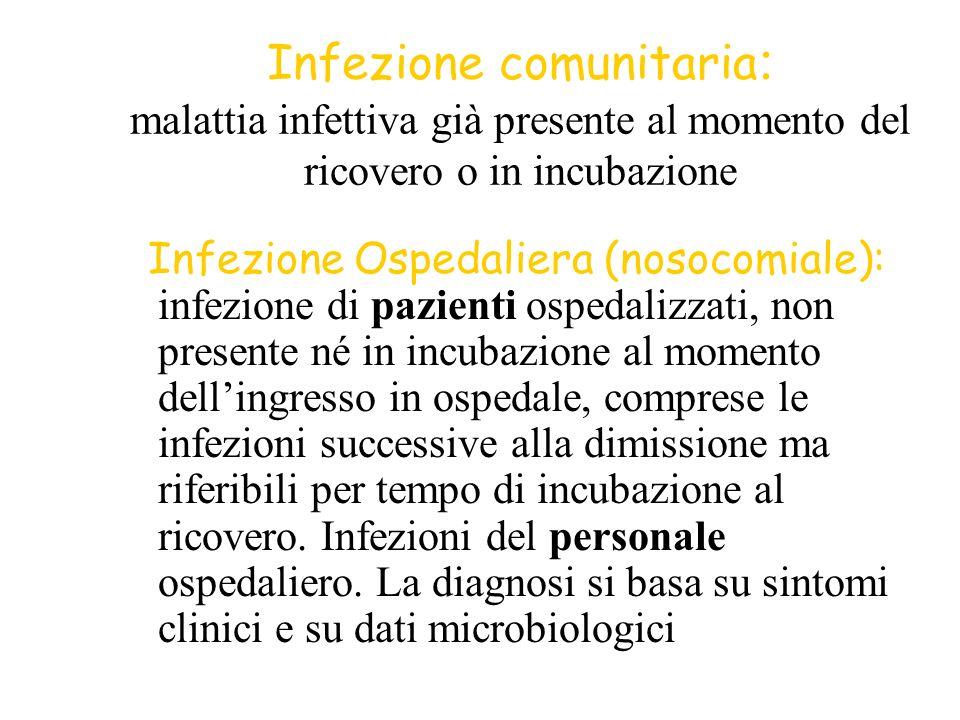 Infezione comunitaria: malattia infettiva già presente al momento del ricovero o in incubazione