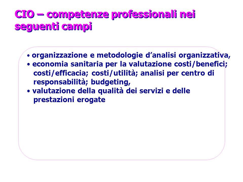 CIO – competenze professionali nei seguenti campi