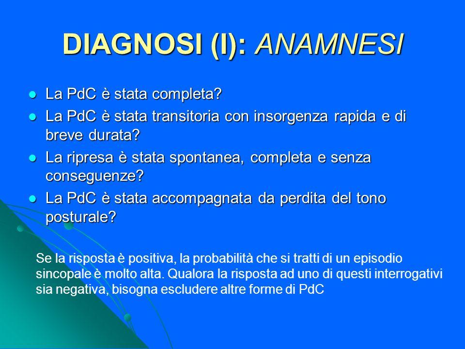 DIAGNOSI (I): ANAMNESI