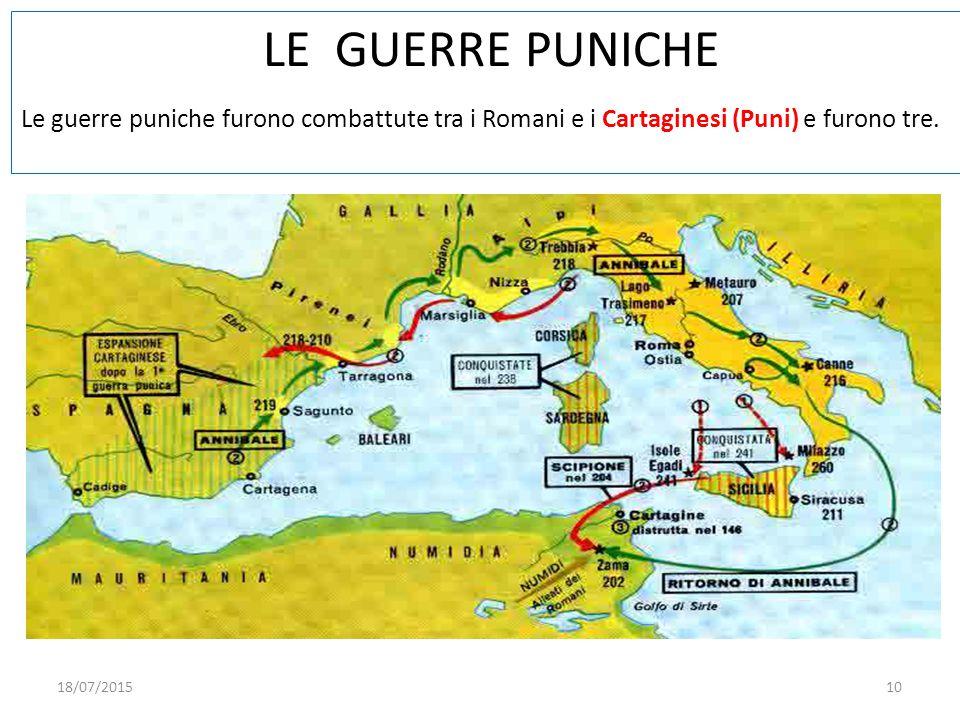 LE GUERRE PUNICHE Le guerre puniche furono combattute tra i Romani e i Cartaginesi (Puni) e furono tre.