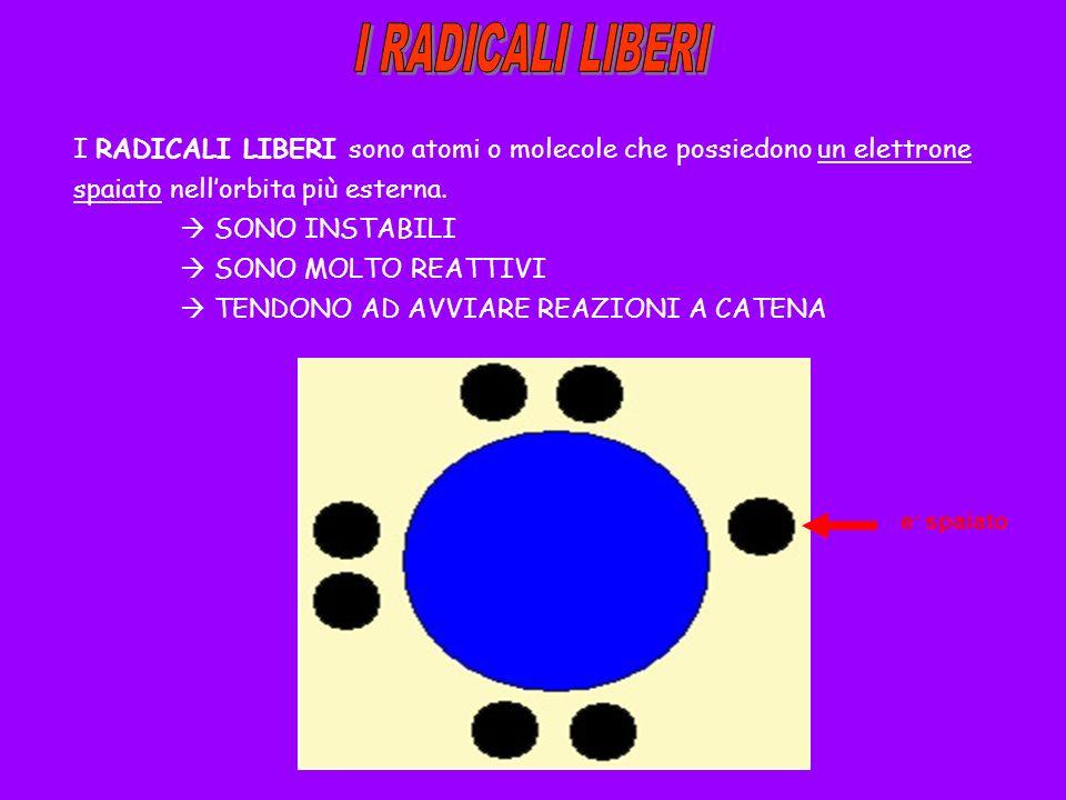 I RADICALI LIBERI I RADICALI LIBERI sono atomi o molecole che possiedono un elettrone spaiato nell'orbita più esterna.