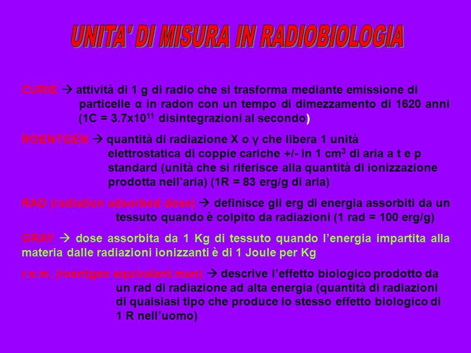 UNITA DI MISURA IN RADIOBIOLOGIA