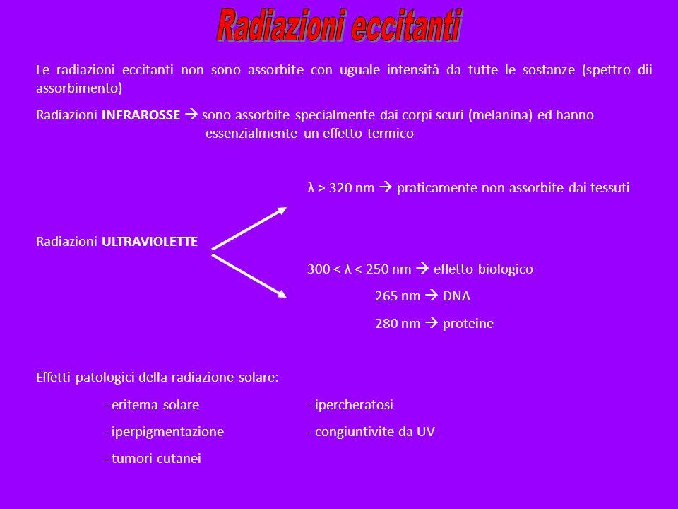 Radiazioni eccitanti Le radiazioni eccitanti non sono assorbite con uguale intensità da tutte le sostanze (spettro dii assorbimento)