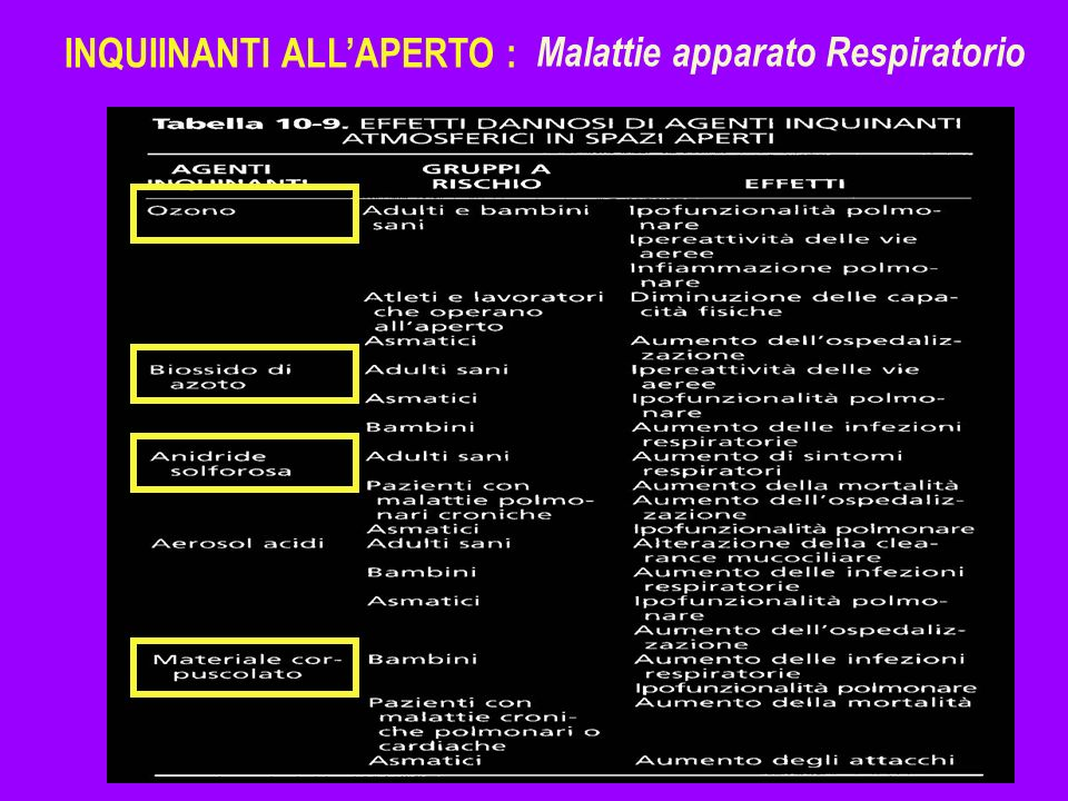 INQUIINANTI ALL'APERTO :