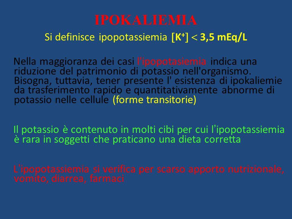 Si definisce ipopotassiemia K+  3,5 mEq/L