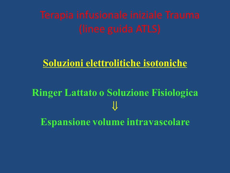 Terapia infusionale iniziale Trauma (linee guida ATLS)