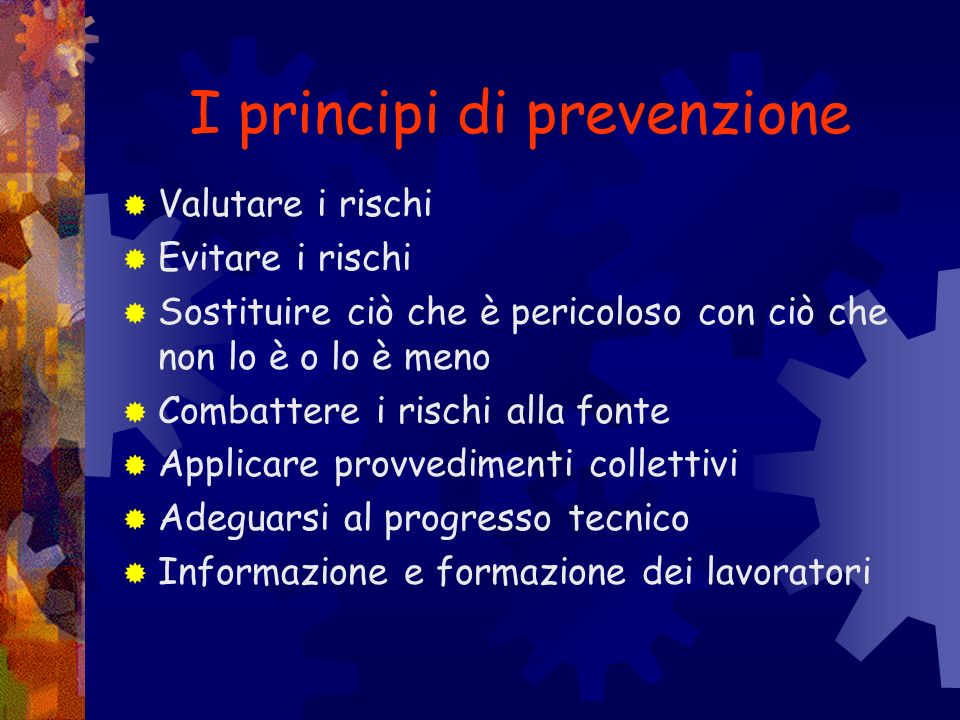 I principi di prevenzione