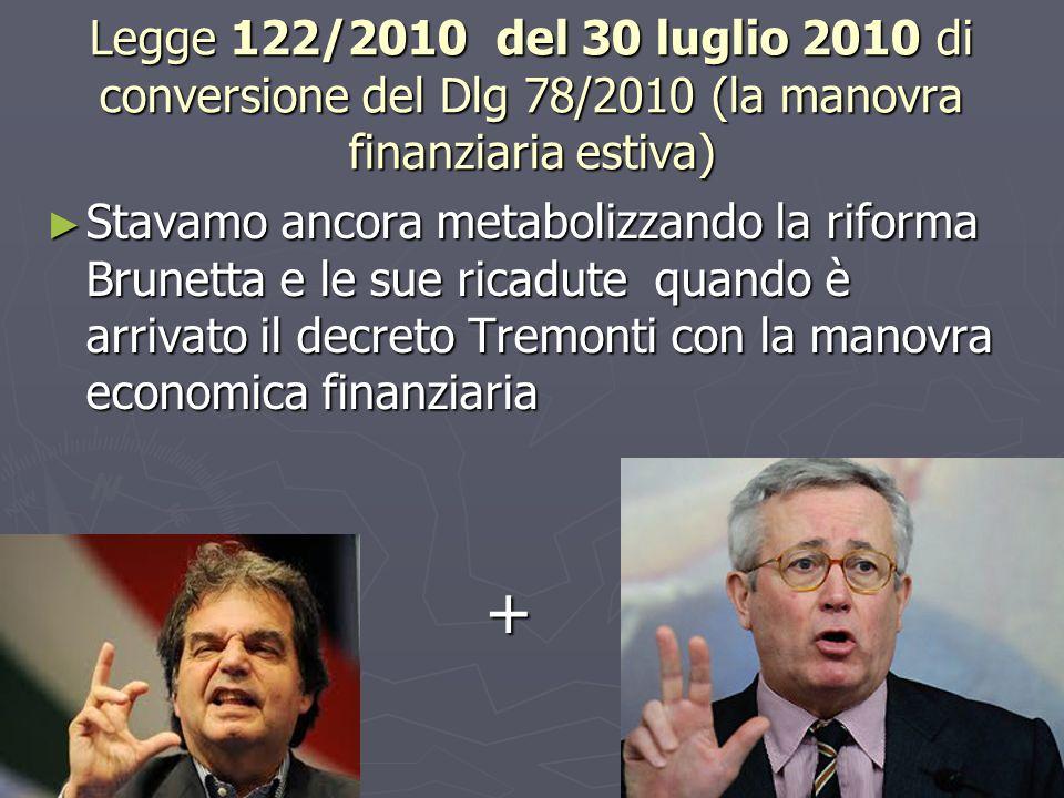 Legge 122/2010 del 30 luglio 2010 di conversione del Dlg 78/2010 (la manovra finanziaria estiva)