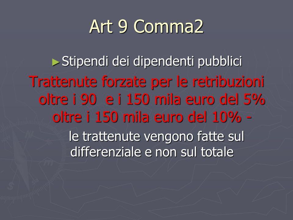 Art 9 Comma2 Stipendi dei dipendenti pubblici.