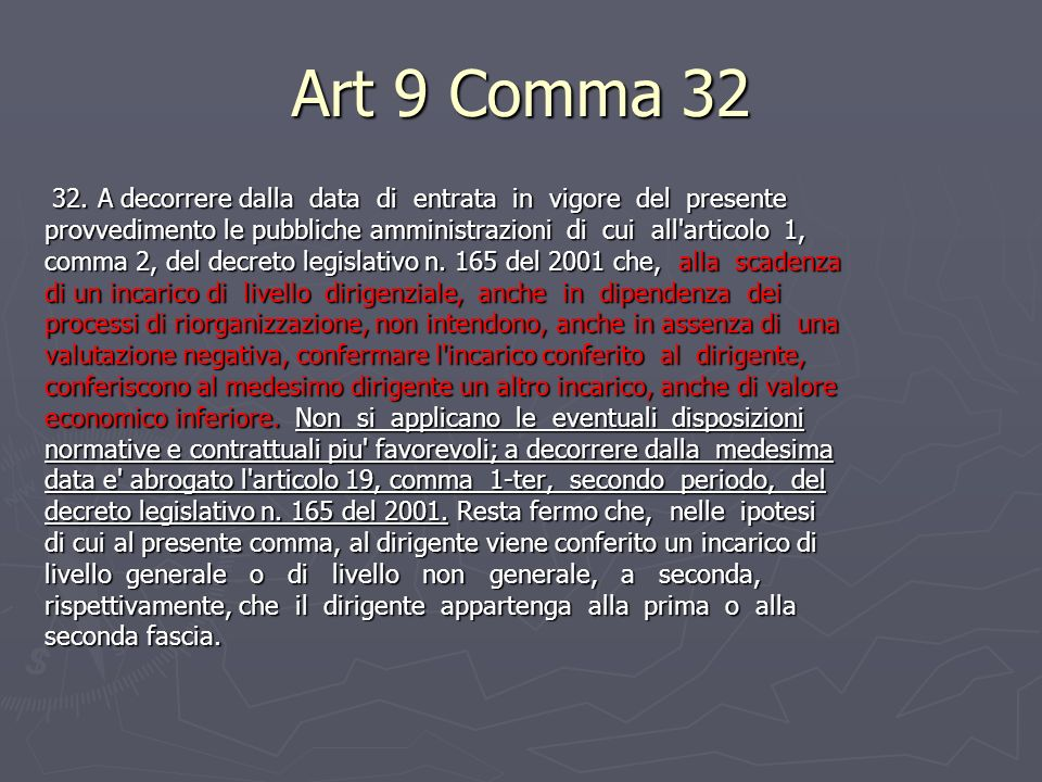 Art 9 Comma A decorrere dalla data di entrata in vigore del presente.