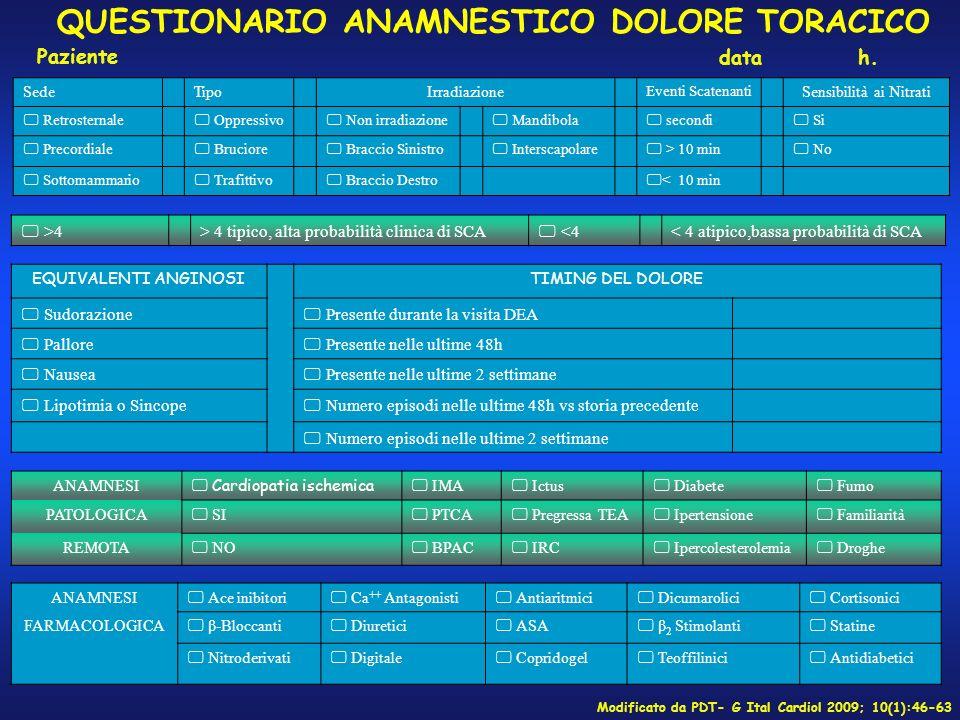 QUESTIONARIO ANAMNESTICO DOLORE TORACICO