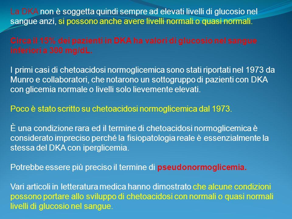 La DKA non è soggetta quindi sempre ad elevati livelli di glucosio nel sangue anzi, si possono anche avere livelli normali o quasi normali.