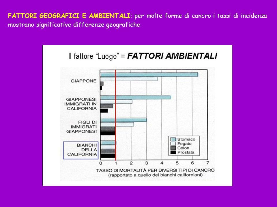 FATTORI GEOGRAFICI E AMBIENTALI: per molte forme di cancro i tassi di incidenza mostrano significative differenze geografiche