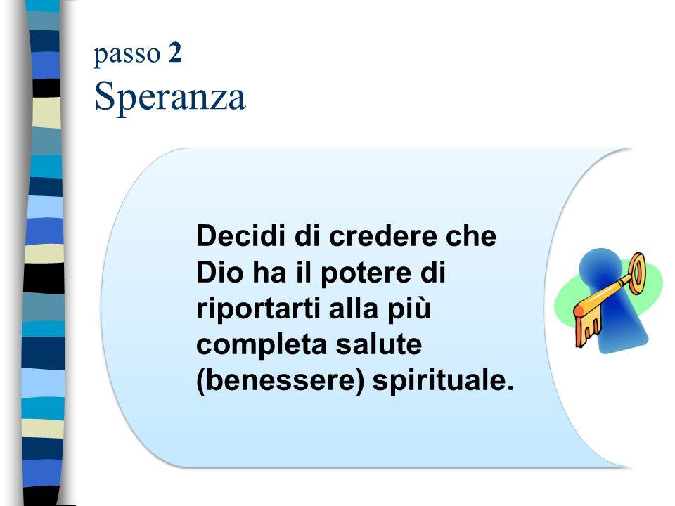 passo 2 Speranza Decidi di credere che Dio ha il potere di riportarti alla più completa salute (benessere) spirituale.