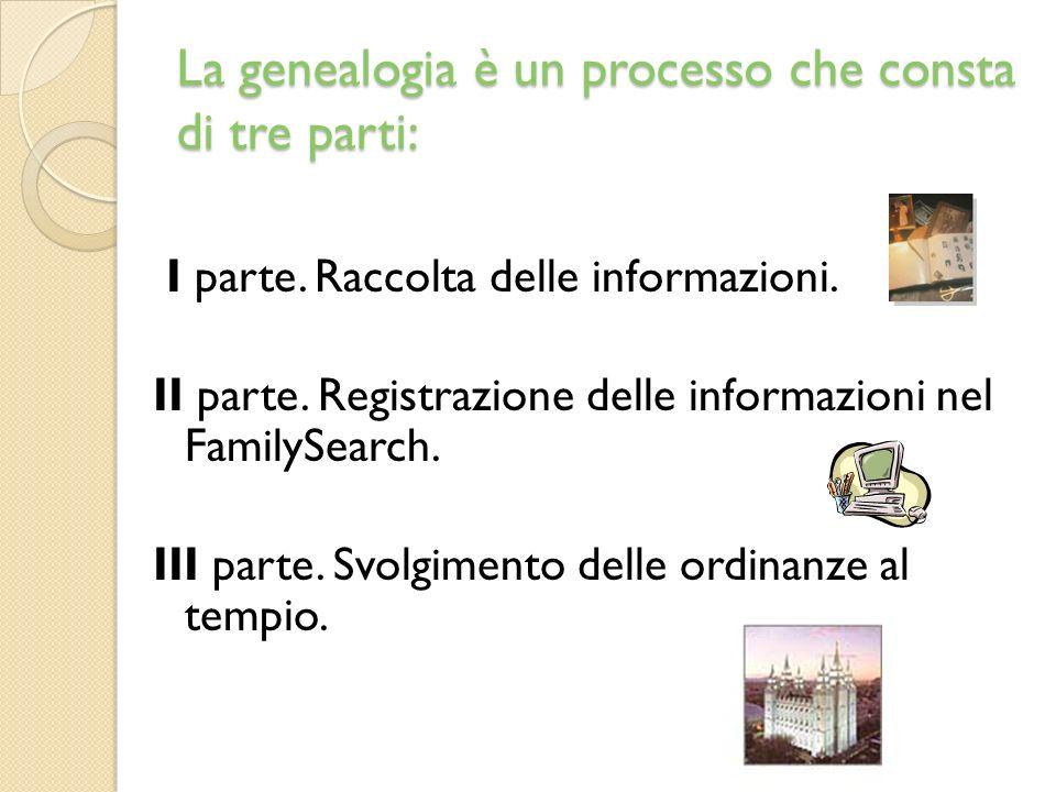 La genealogia è un processo che consta di tre parti: