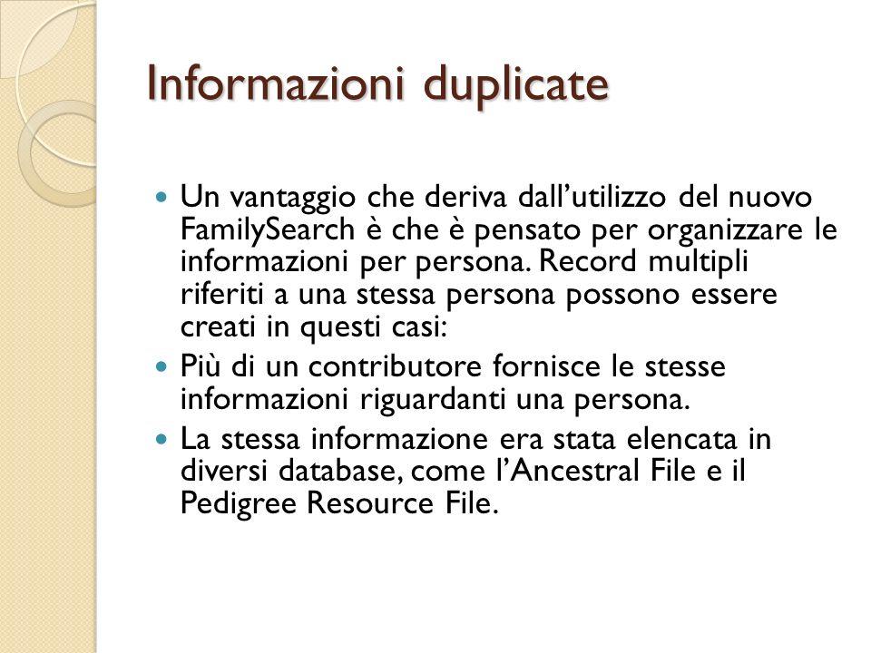 Informazioni duplicate