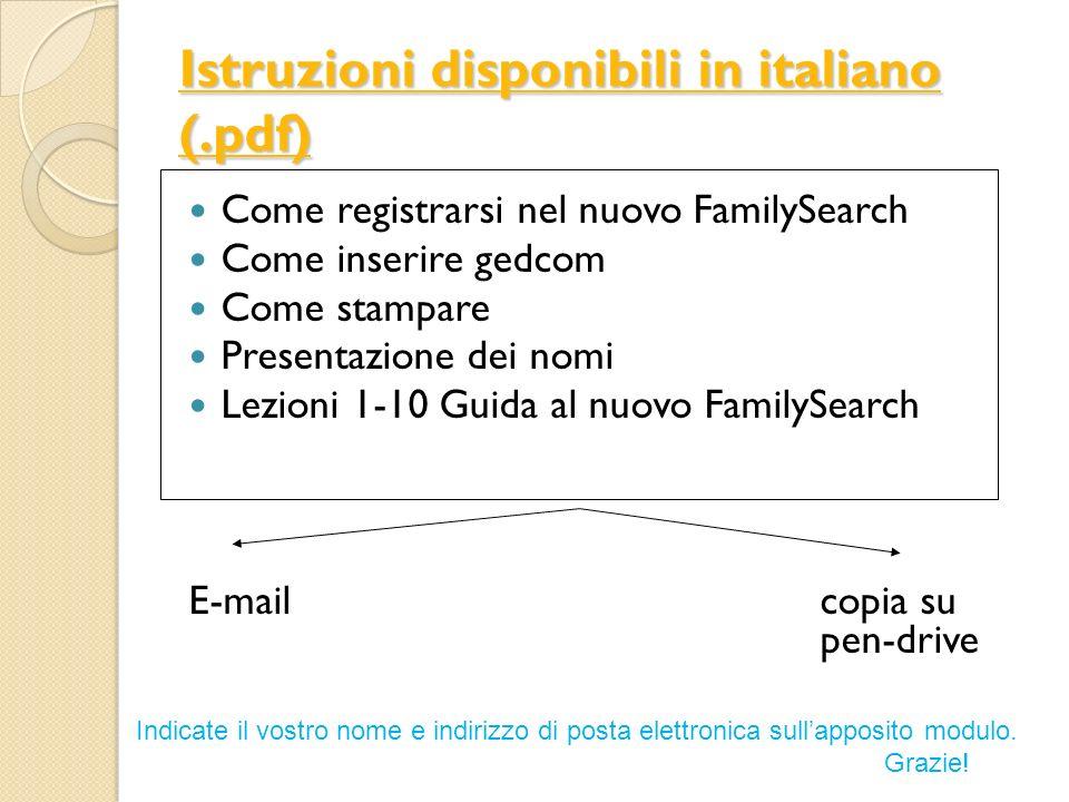 Istruzioni disponibili in italiano (.pdf)
