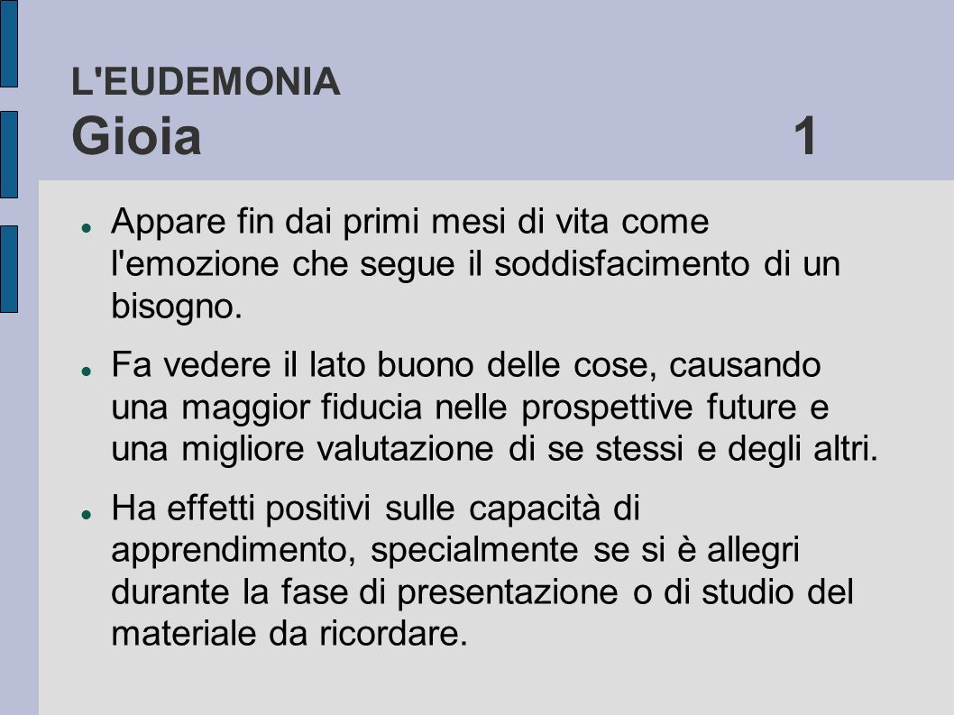 L EUDEMONIA Gioia 1