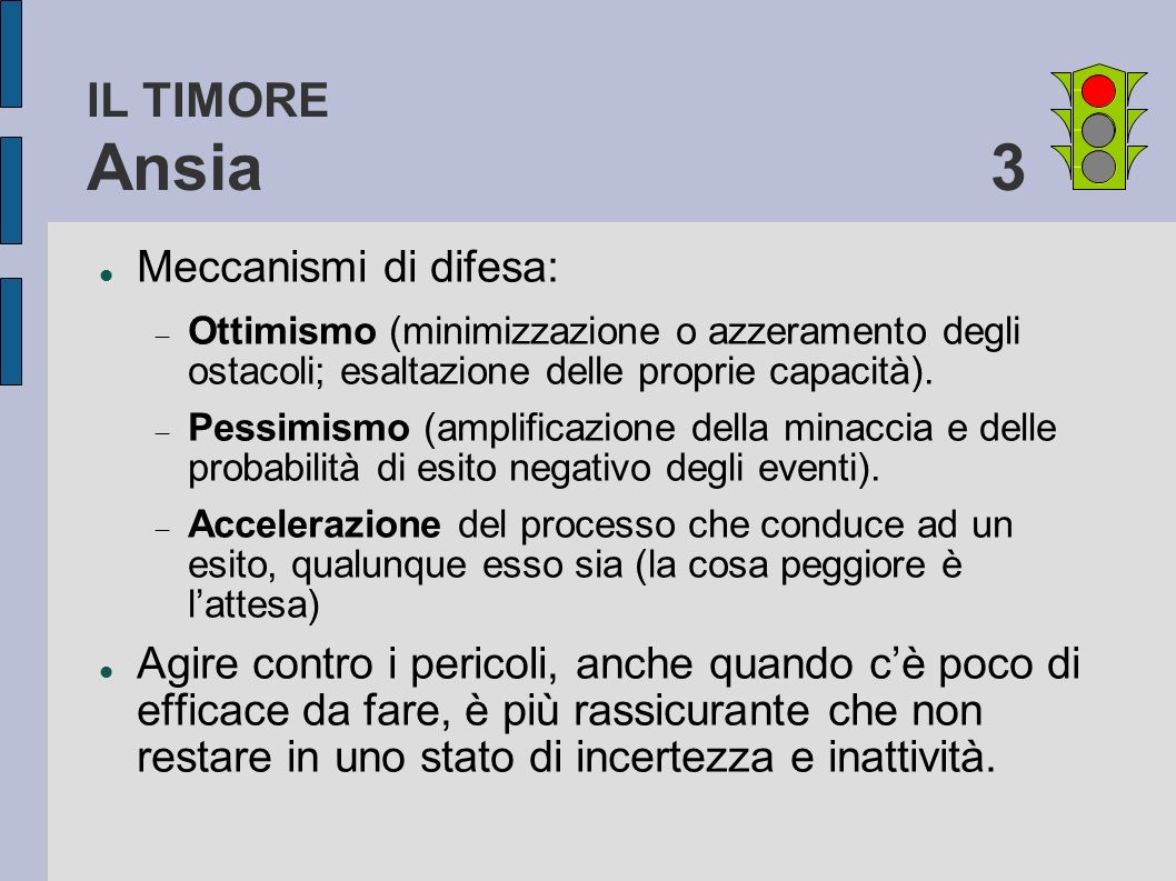 IL TIMORE Ansia 3 Meccanismi di difesa: