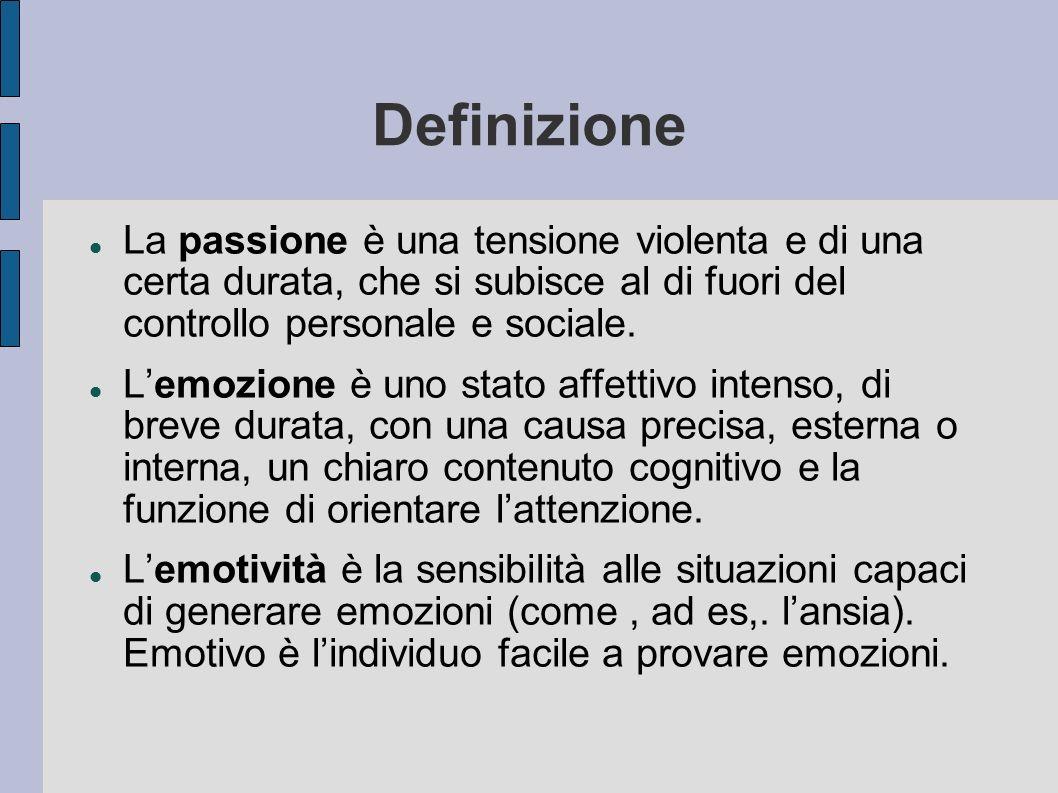 Definizione La passione è una tensione violenta e di una certa durata, che si subisce al di fuori del controllo personale e sociale.