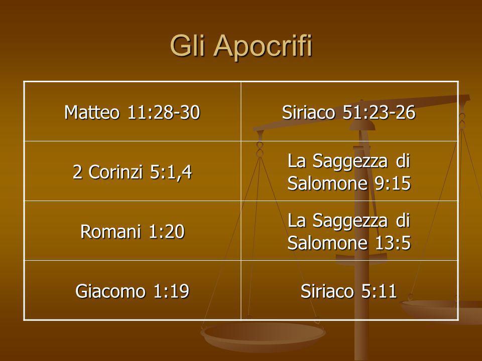 Gli Apocrifi Matteo 11:28-30 Siriaco 51:23-26 2 Corinzi 5:1,4