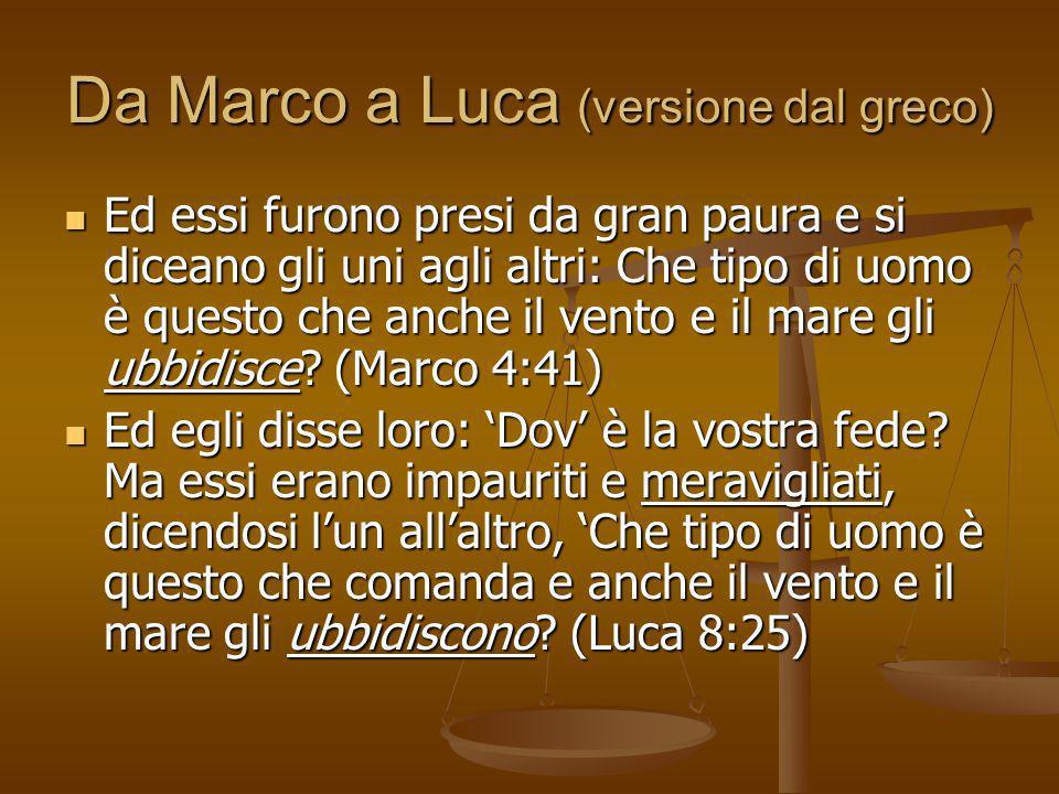 Da Marco a Luca (versione dal greco)