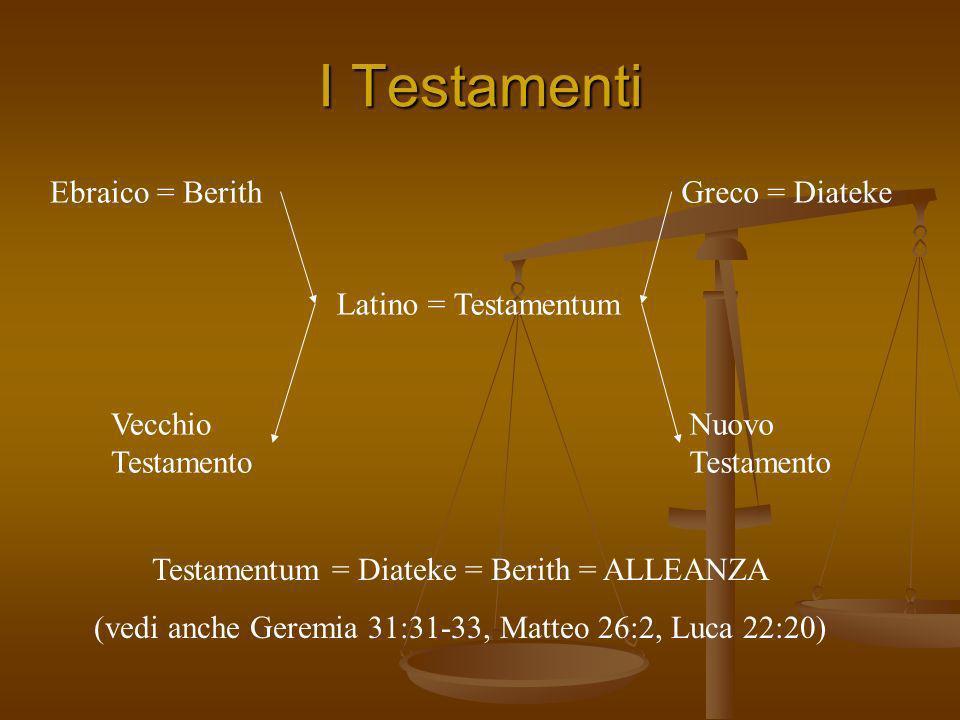 I Testamenti Ebraico = Berith Greco = Diateke Latino = Testamentum