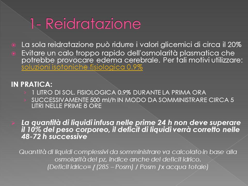 1- Reidratazione La sola reidratazione può ridurre i valori glicemici di circa il 20%