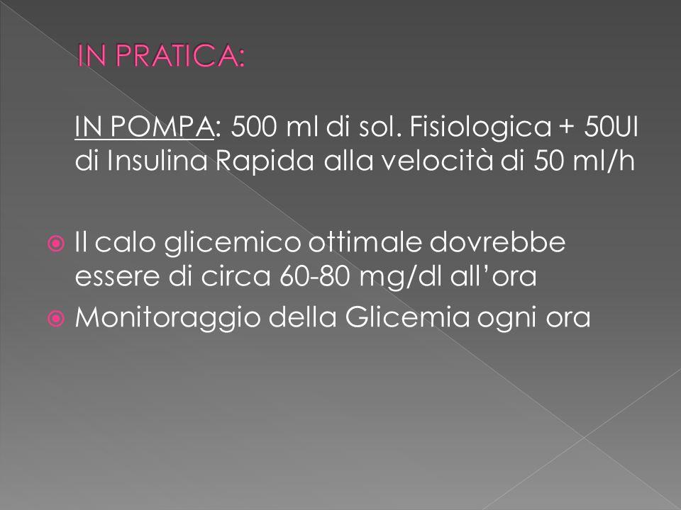 IN PRATICA: IN POMPA: 500 ml di sol. Fisiologica + 50UI di Insulina Rapida alla velocità di 50 ml/h.