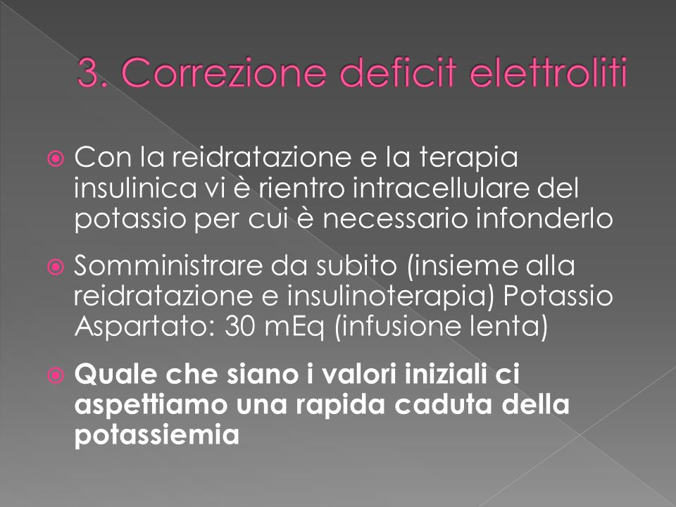 3. Correzione deficit elettroliti