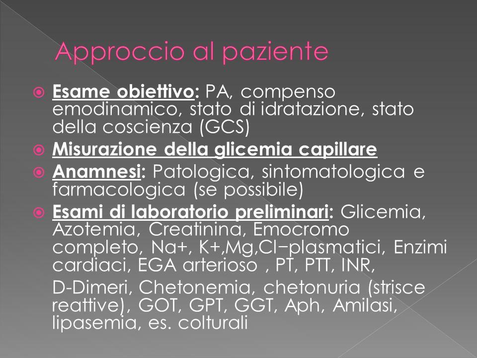 Approccio al paziente Esame obiettivo: PA, compenso emodinamico, stato di idratazione, stato della coscienza (GCS)